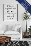 'Choose you this Day whom ye will serve' Joshua 24:15 bible verse Christian art wall décor for your home and inspirational wall art. Enjoy this black and white wall décor, minimalist wall art perfect for your living room décor or bedroom wall art for you whole family to enjoy a faith filled home centerpiece.