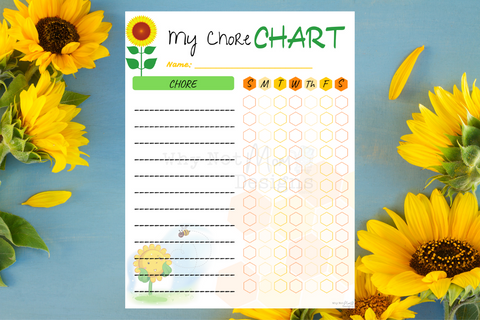 Chore Chart - Sunflower Theme - Why Not Mom