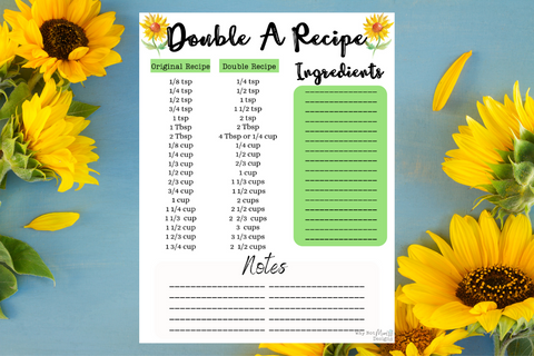 Double a Recipe - Sunflower Theme - Why Not Mom