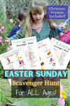 Easter Scavenger Hunt game is something the whole family can enjoy! 4 Activity Sheets: toddler friendly, big kid friendly, and Christian themed. #printables #familynight #scavengerhunt #WhyNotMomDesigns #Christian #EasterSunday #EasterEggHunt
