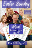 Easter Scavenger Hunt game is something the whole family can enjoy! 4 Activity Sheets: toddler friendly, big kid friendly, and Christian themed. #printables #familynight #scavengerhunt #WhyNotMomDesigns #Christian #EasterSunday #EasterEggHunt #TeenActivities #ChristianYouthActivities #VirtualActivities #SocialDistancingActivities #ZoomActivities #FamilyGameNight