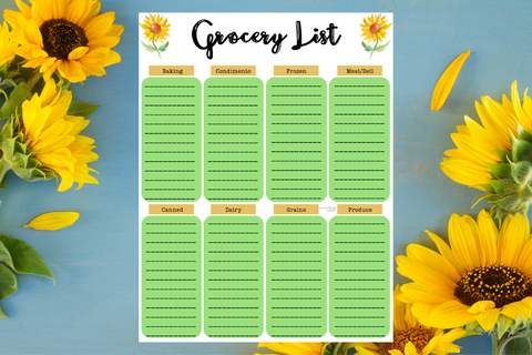 Grocery List - Sunflower Theme - Why Not Mom