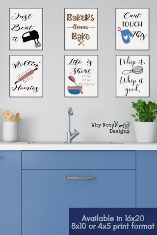 Printable funny kitchen wall art printables to frame for kitchen wall decor by Why Not Mom Designs