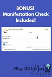 BONUS! FREE Printable Manifestation check to assist you in sparking the law of attraction and abundance in your life. Printable abundance template check will give you daily encouragement when paired with our daily positive affirmations. Write yourself a check and ignite the law of attraction in your life today!