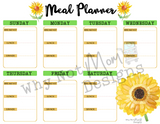 7 Day Meal Planner -Sunflower Theme - Why Not Mom