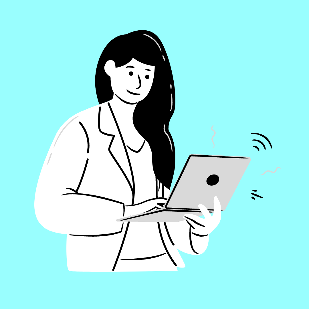 hand drawn Image of a woman with long dar hair working on a laptop