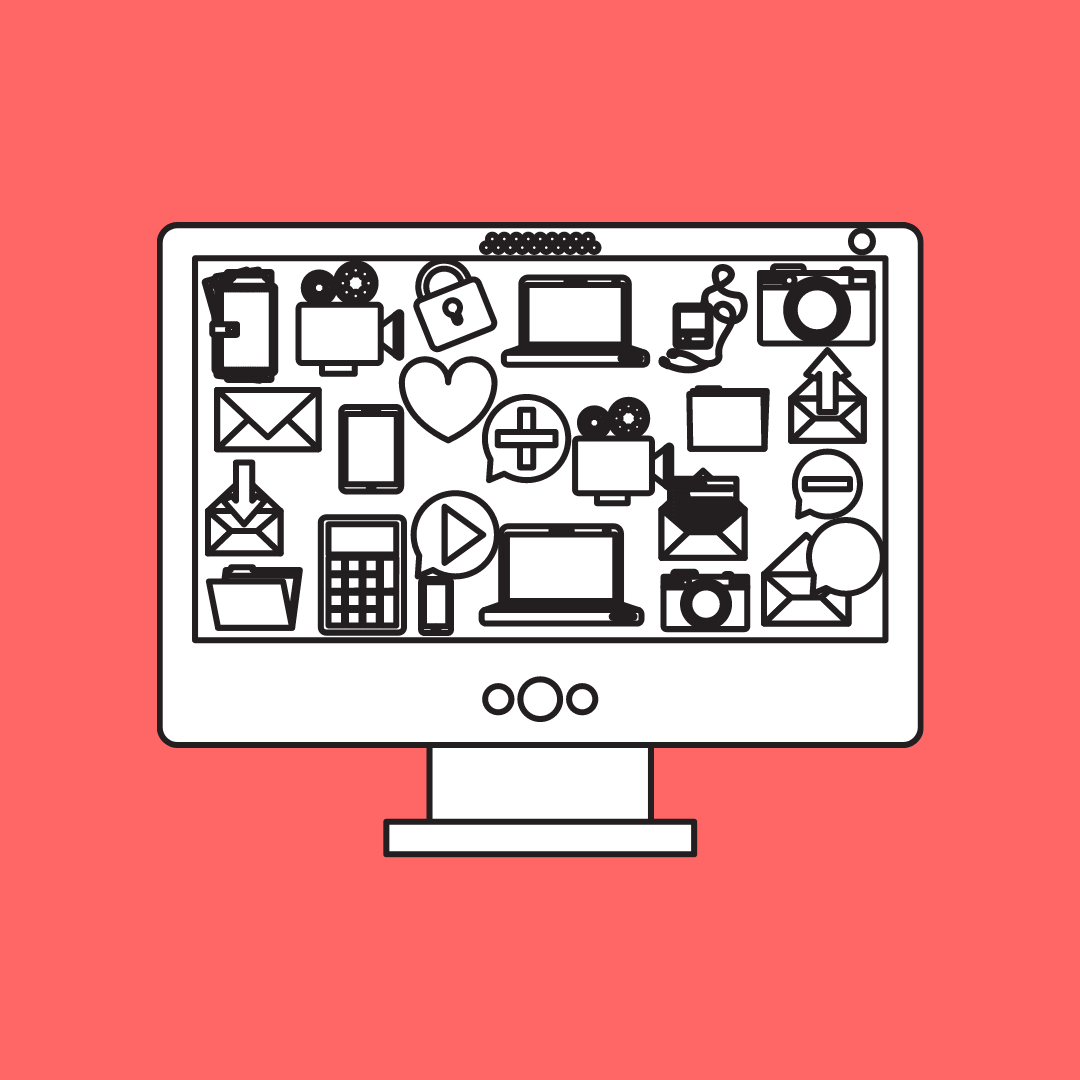 hand drawn image of a PC or Mac Monitor with several smaller images on the screen