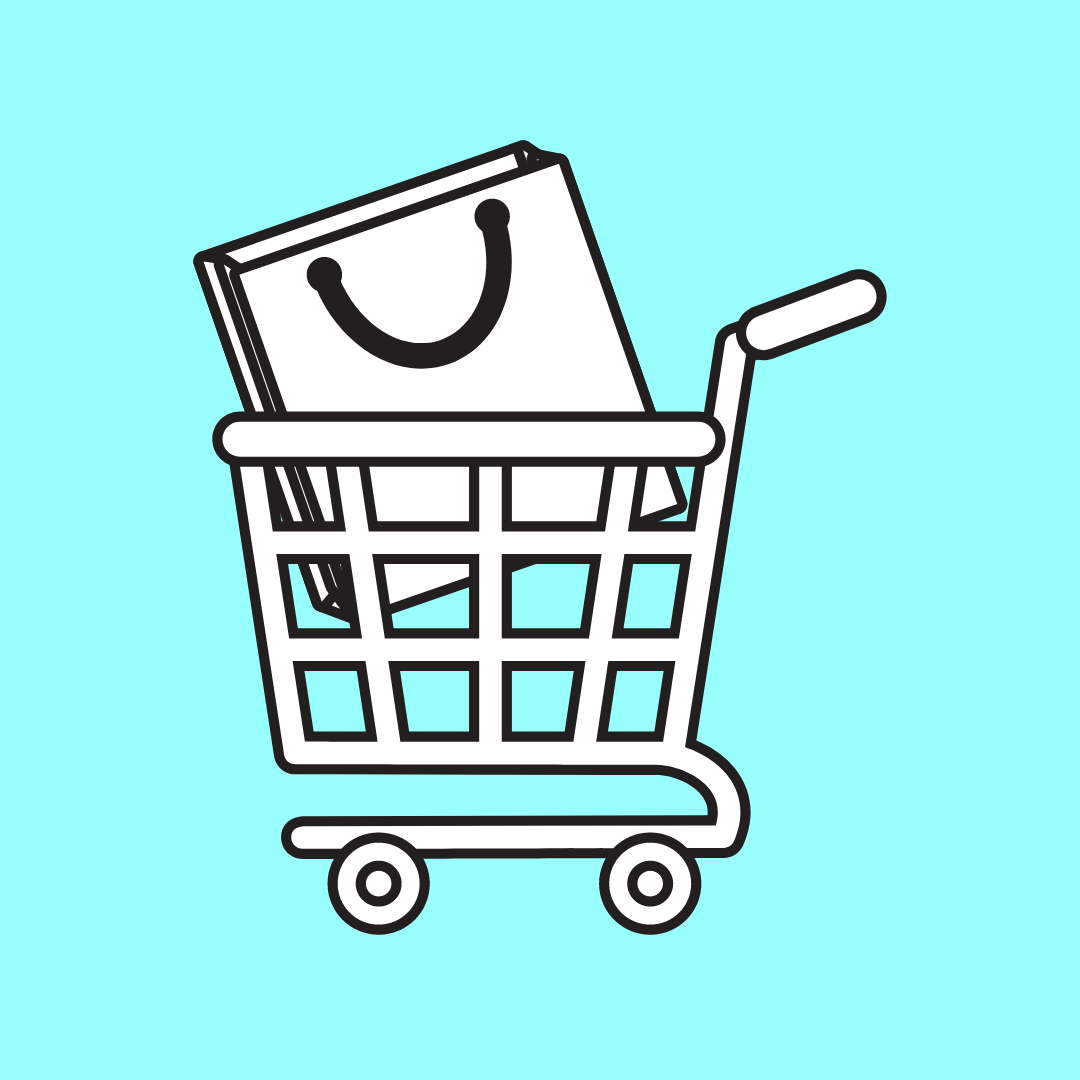 hand drawn image of a shopping cart with a shopping bag inside of it