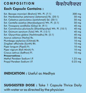 Bacoplex Capsules - Memory Enhancer - Sushruta Ayurvedic Therapy Center