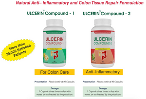 Ulcerin Compound 1 and 2  [1 Month Supply] - Sushruta Ayurvedic Therapy Center