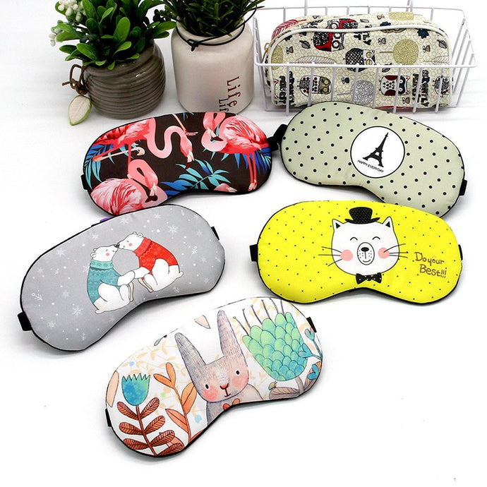 Cute Cotton Cartoon Eye Cover Sleeping Mask Funny Anime Eyepatch Sleep Mask Travel Relax Eye Band Sleeping Aid Kids Blindfolds