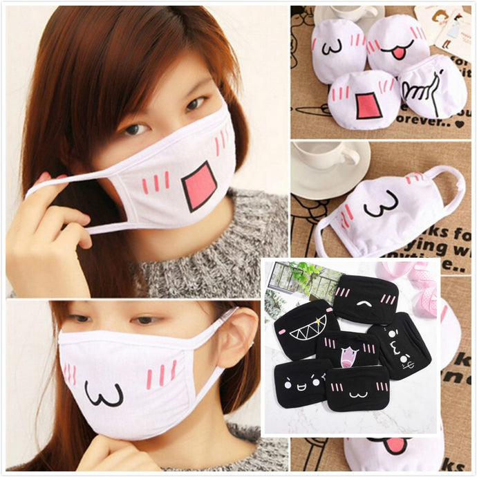 2 styles Kawaii Anti Dust mask Kpop Cotton Mouth Mask Cute Anime Cartoon Mouth Muffle Face Mask Emotiction Masque Kpop masks