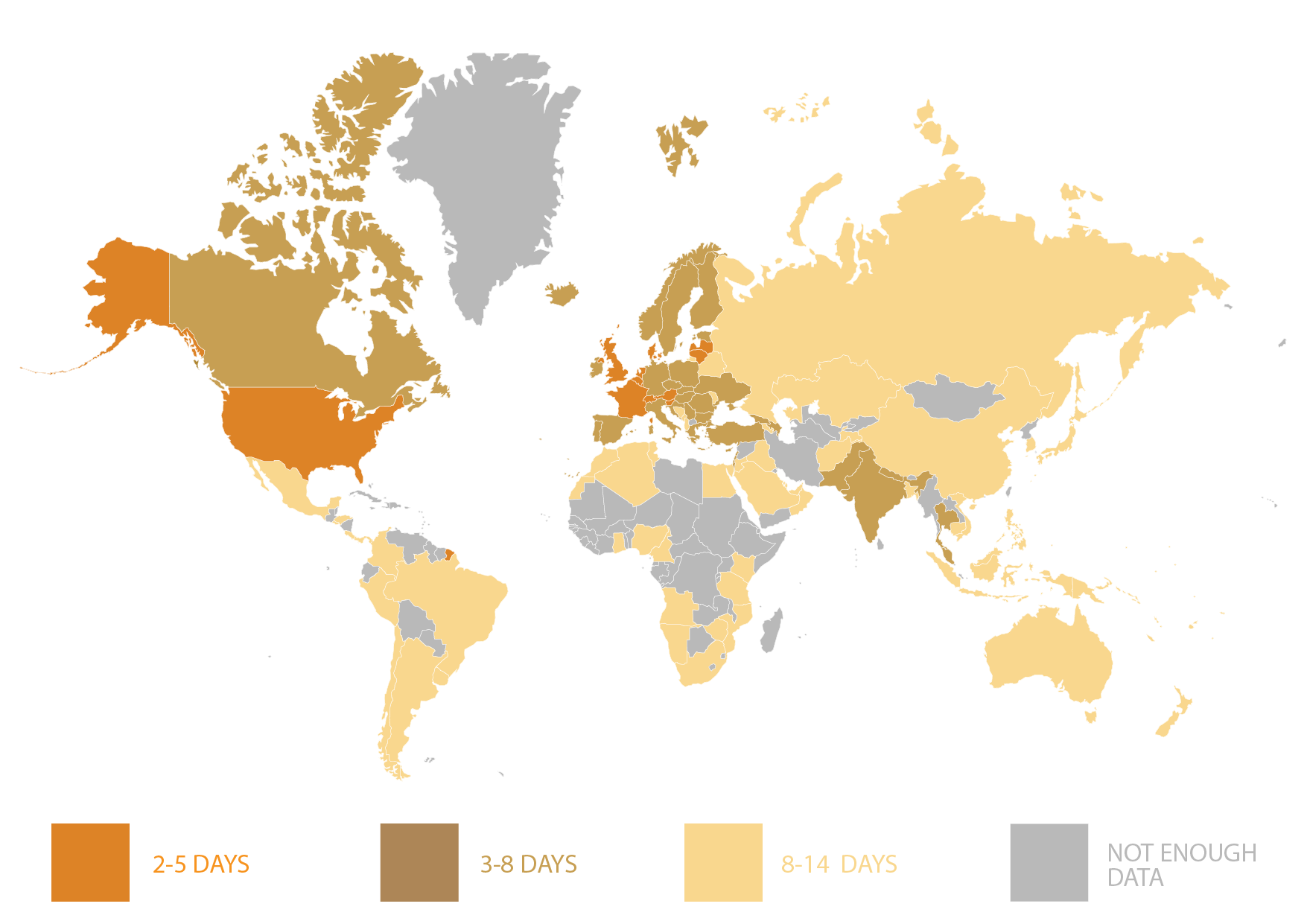 worldwide map with delivery time estimates