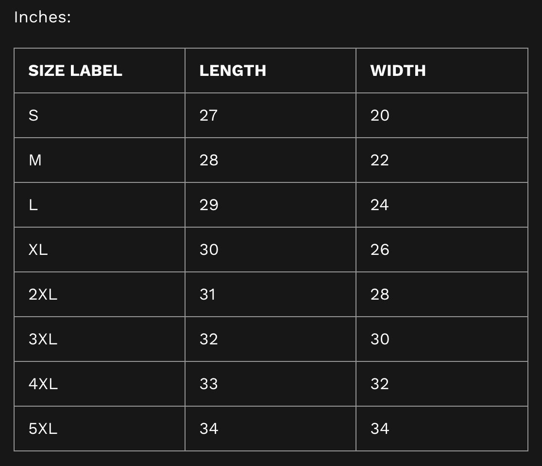 Size Guide Hoodie Inches