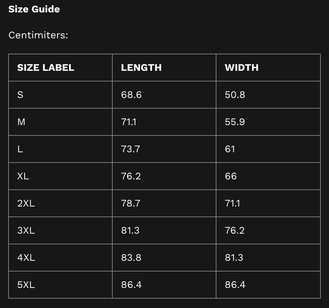 Size Guide Hoodie Centimeters