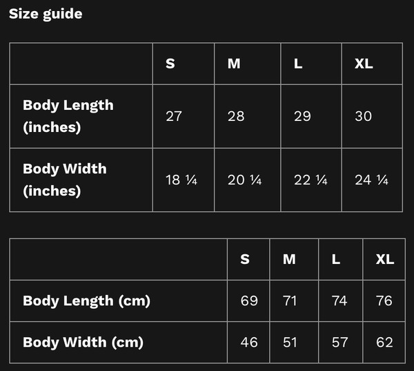 Tank Top unisex size guide