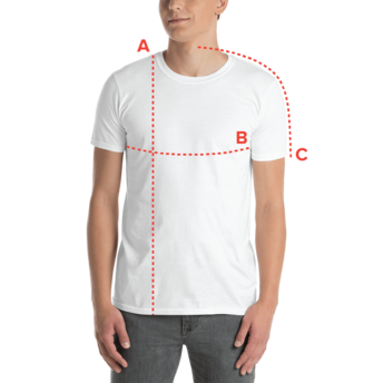 unisex t-shirt size guide - man wearing t-shirt with length, chest and sleeve length