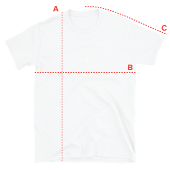 unisex t-shirt product size measurements with length, width and sleeve length