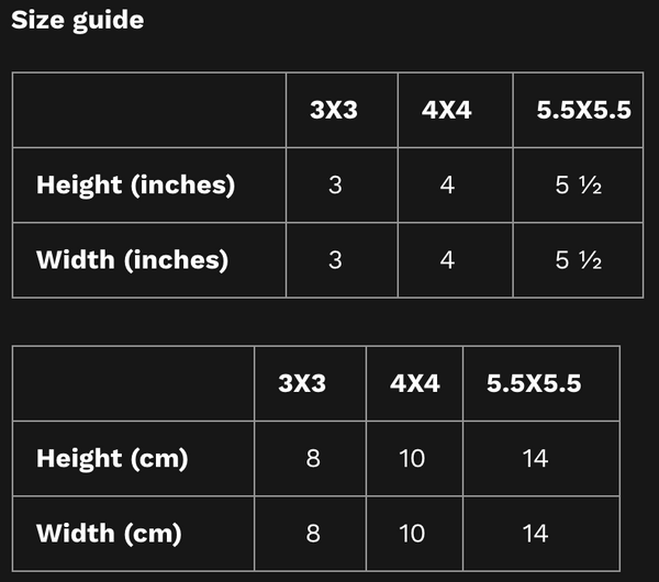 stickers size guide