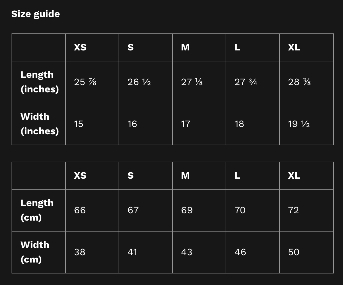 Tank Top Size Guide ScarletterDesign