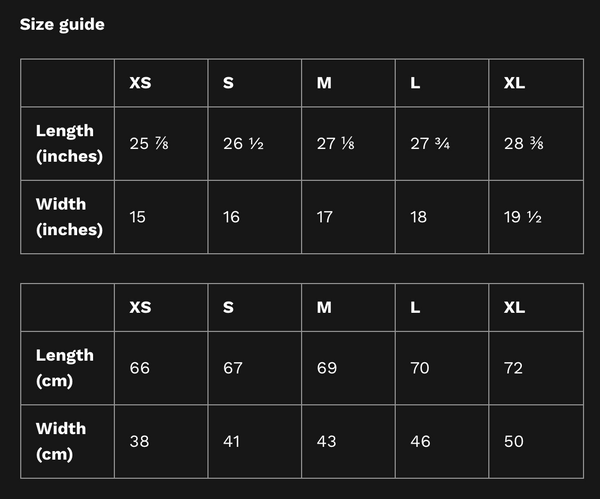 tank top size guide