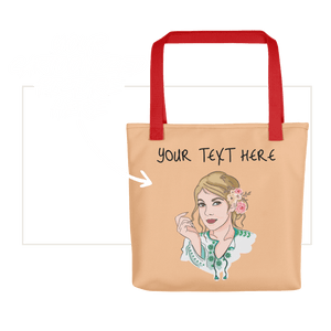 Bag Personalised Tote Bag Nude Cartoon Hand Drawn Custom Design  | Cartoon Yourself 𝔅 ♘ ℞ ScarletterDesign Red