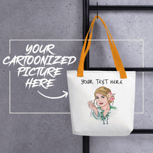 Load image into Gallery viewer, Bag Personalised Tote Bag White Cartoon Hand Drawn Custom Design | Cartoon Yourself 𝔅 ♘ ℞ ScarletterDesign