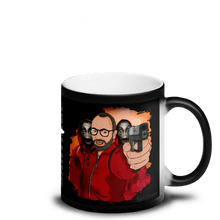 Load image into Gallery viewer, Mugs Matte Black Magic Mug Cartoon Yourself In LA CASA STYLE | Personalised Hand Drawn Custom Design 𝔅 ♘ ℞ ScarletterDesign Handgun
