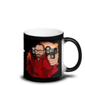 Mugs Matte Black Magic Mug Cartoon Yourself In LA CASA STYLE | Personalised Hand Drawn Custom Design 𝔅 ♘ ℞ ScarletterDesign Handgun