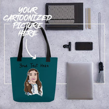 Load image into Gallery viewer, Bag Personalised Tote Bag WaterGreenBlue Cartoon Hand Drawn Custom Design | Cartoon Yourself 𝔅 ♘ ℞ ScarletterDesign Black
