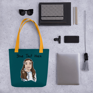 Bag Personalised Tote Bag WaterGreenBlue Cartoon Hand Drawn Custom Design | Cartoon Yourself 𝔅 ♘ ℞ ScarletterDesign Yellow
