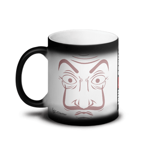 Mugs Matte Black Magic Mug Cartoon Yourself In LA CASA STYLE | Personalised Hand Drawn Custom Design 𝔅 ♘ ℞ ScarletterDesign