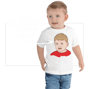 T-shirt Personalized Toddler Short Sleeve Tee Hand Drawn Custom Cartoon Design | Cartoon Yourself 𝔅 ♘ ℞ ScarletterDesign White / 2T