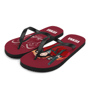 Flip Flop Red2 Flip-Flops  Cartoon Yourself In LA CASA STYLE | Personalised Cartoon | Hand Drawn Custom Design 𝔅 ♘ ℞ ScarletterDesign