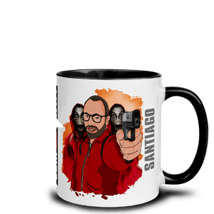 Mugs Mug with Color Inside Cartoon Yourself In LA CASA STYLE | Personalised Hand Drawn Custom Design 𝔅 ♘ ℞ ScarletterDesign Black