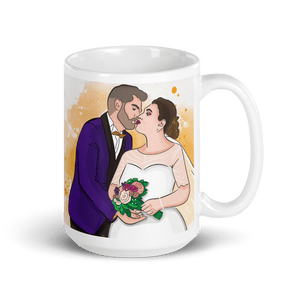 Mugs Personalized White Glossy Mug Hand Drawn Custom Cartoon Design | Cartoon Yourself 𝔅 ♘ ℞ ScarletterDesign 15oz