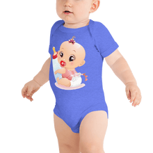 Load image into Gallery viewer, Bodysuit Personalised Baby One Piece Bodysuit Hand Drawn Custom Cartoon Design | Cartoon Yourself 𝔅 ♘ ℞ ScarletterDesign Heather Columbia Blue / 3-6m