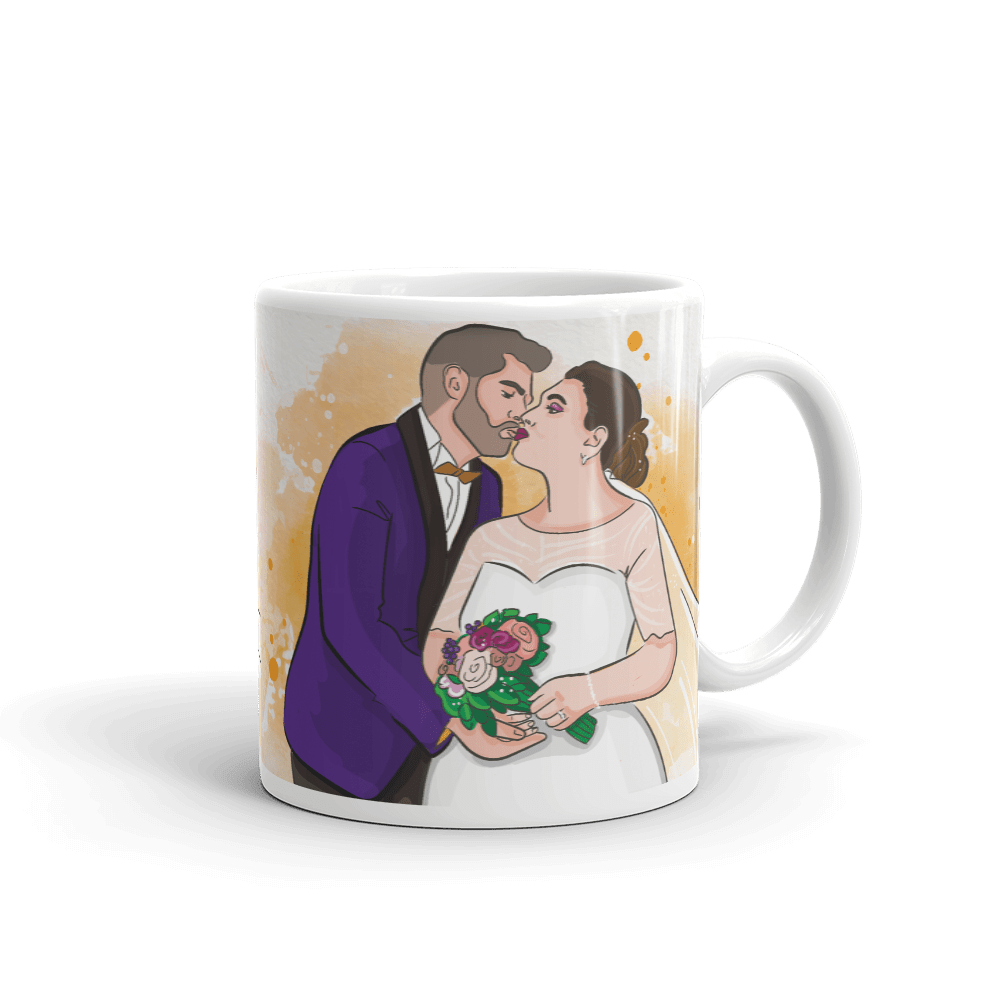 Mugs Personalized White Glossy Mug Hand Drawn Custom Cartoon Design | Cartoon Yourself 𝔅 ♘ ℞ ScarletterDesign 11oz