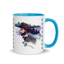 Load image into Gallery viewer, Mugs The Dacian Warrior & The Spirit of the White Wolf | Coffee Mug with Color Inside 𝔅 ♘ ℞ ScarletterDesign Blue