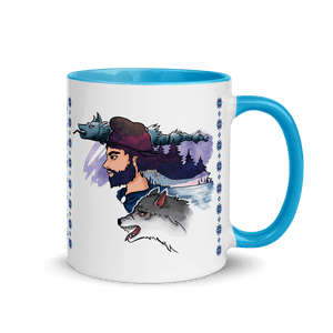 Mugs The Dacian Warrior & The Spirit of the White Wolf | Coffee Mug with Color Inside 𝔅 ♘ ℞ ScarletterDesign Blue