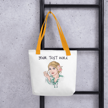 Load image into Gallery viewer, Bag Personalised Tote Bag White Cartoon Hand Drawn Custom Design | Cartoon Yourself 𝔅 ♘ ℞ ScarletterDesign Yellow