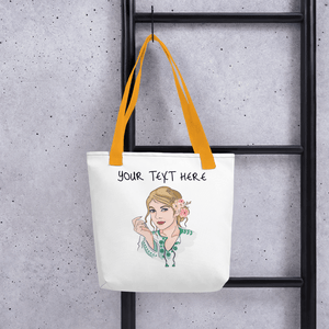 Bag Personalised Tote Bag White Cartoon Hand Drawn Custom Design | Cartoon Yourself 𝔅 ♘ ℞ ScarletterDesign Yellow