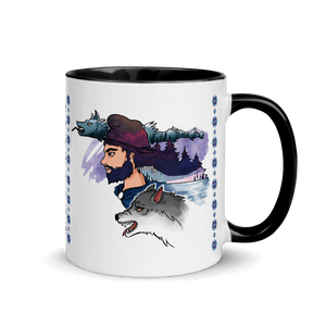 Mugs The Dacian Warrior & The Spirit of the White Wolf | Coffee Mug with Color Inside 𝔅 ♘ ℞ ScarletterDesign Black
