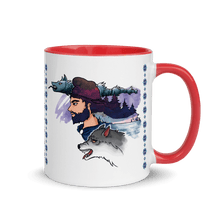 Load image into Gallery viewer, Mugs The Dacian Warrior & The Spirit of the White Wolf | Coffee Mug with Color Inside 𝔅 ♘ ℞ ScarletterDesign Red