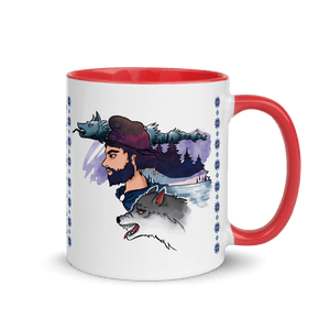 Mugs The Dacian Warrior & The Spirit of the White Wolf | Coffee Mug with Color Inside 𝔅 ♘ ℞ ScarletterDesign Red