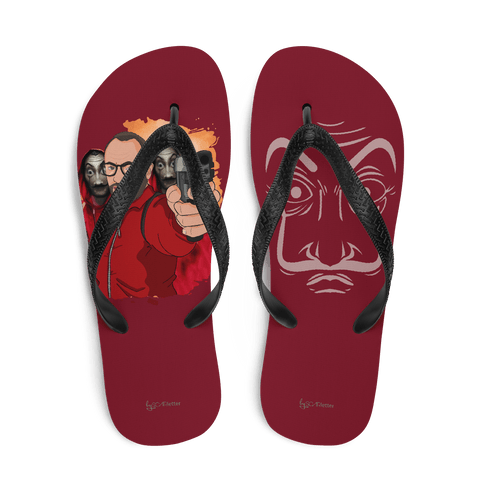 flip flop red2 hand gun cartoon la casa de papel style scarletter