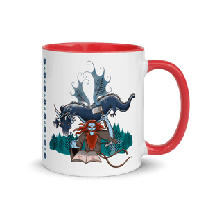 Mugs Solomonarul - The Dragon Rider & Master of Storms | Coffee Mug with Color Inside 𝔅 ♘ ℞ ScarletterDesign Red