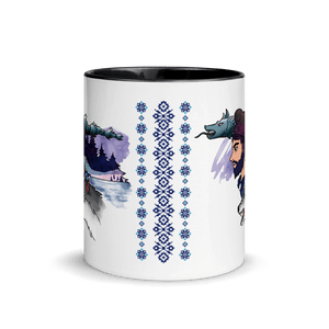 Mugs The Dacian Warrior & The Spirit of the White Wolf | Coffee Mug with Color Inside 𝔅 ♘ ℞ ScarletterDesign