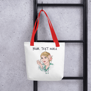 Bag Personalised Tote Bag White Cartoon Hand Drawn Custom Design | Cartoon Yourself 𝔅 ♘ ℞ ScarletterDesign Red