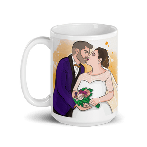 Mugs Personalized White Glossy Mug Hand Drawn Custom Cartoon Design | Cartoon Yourself 𝔅 ♘ ℞ ScarletterDesign